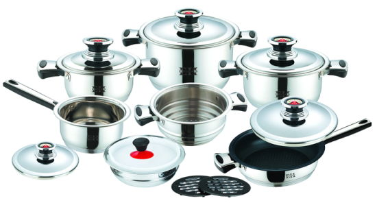 Heavy Weight 16PCS Stainless Steel Cookware Set with Thermometer Lid
