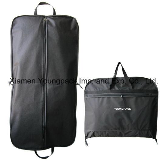 Deluxe Custom Black PEVA Non-Woven Travel Suit Garment Carrier