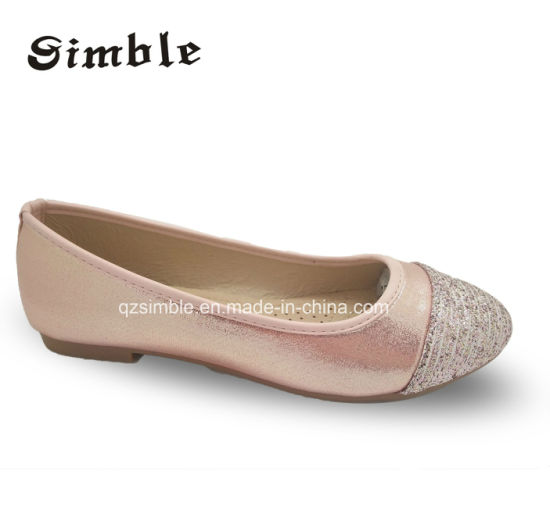 PU Glitter Upper Women Casual Ballet Shoes with Breathable Insole
