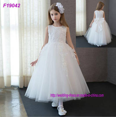 Retail Appliques Sequined Flowers Girl Dresses with Ribbon Bow