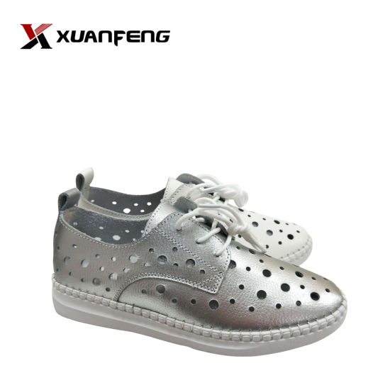 Fashion Women′s Summer Leather Flat Casual Shoes