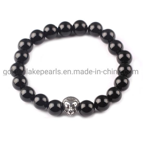 Lione Head Black Agate Plain Rounds Women Bracelet Gemstone Beads