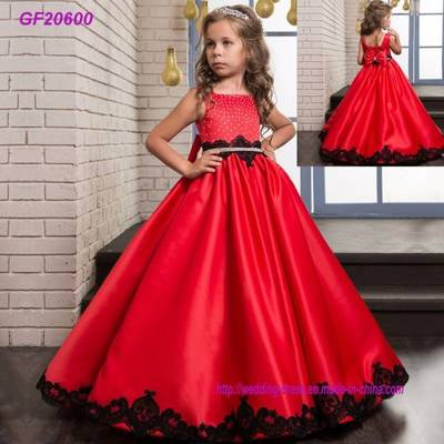New Satin Classic Children′s Wear Floral Girls Dance Performance Dress