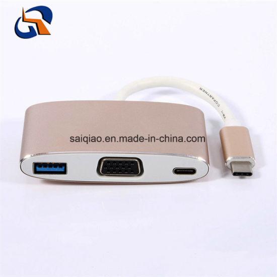 3 in 1 Type C Hub Including USB3.0 Af+VGA+Pd
