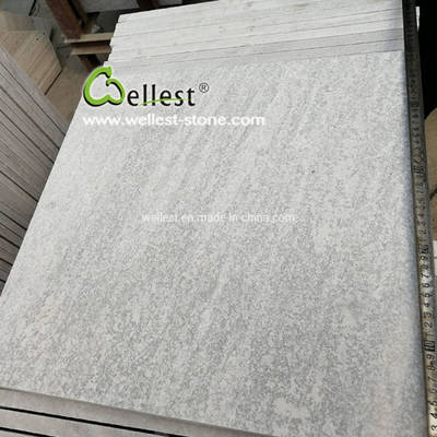 White Quartzite Flamed Tile with Veins for Swimming Pool Paver