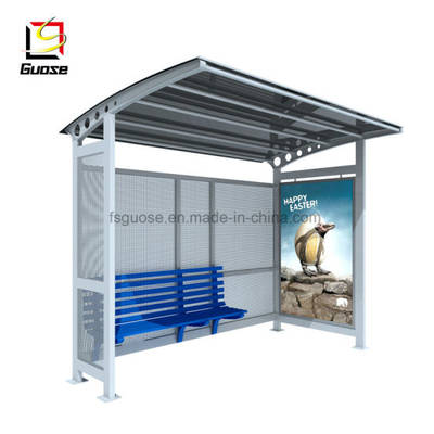 Factory Prefabricated Billboard Metal Bus Stop Shelter Design