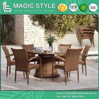 Outdoor Wicker Dining Chair with Table Patio Rattan Dining Chair Garden Stackable Chair (Jada dining