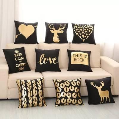 2018 New Soft Plush Bronzing Gold Printing Love Pillowcases Bedding Bedroom Living Room Pillow Cases