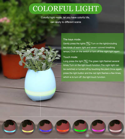 New Arrival ABS Smart Music Flowerpot Smart LED Flower Pot with Bluetooth Speaker and LED Lamp