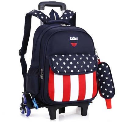 Waterproof Kids Rolling Backpack Removable Trolley School Bag with 6 Wheels
