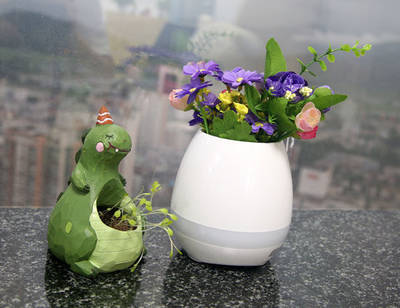 Wholesale Birthday Gift Indoor Touch Smart Mini Music Flowerpots LED Flower Pot with Colorful Lamp a