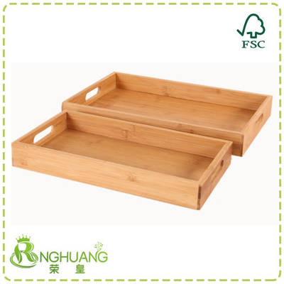 Bamboo Tray with Handles Tea Plate Rectangle Bamboo Food Tray