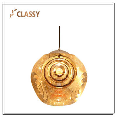 Modern Round Stainless Steel Lampshade Living Room Pendant Lamp