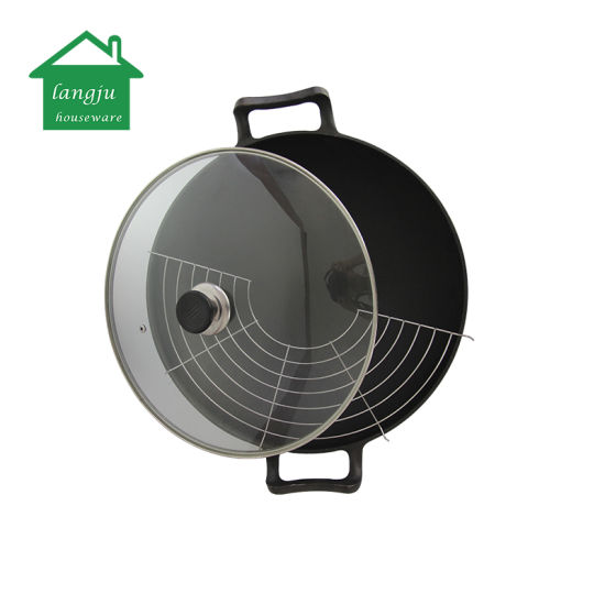 Pre-Seasoned Cast Iron Wok with Rack