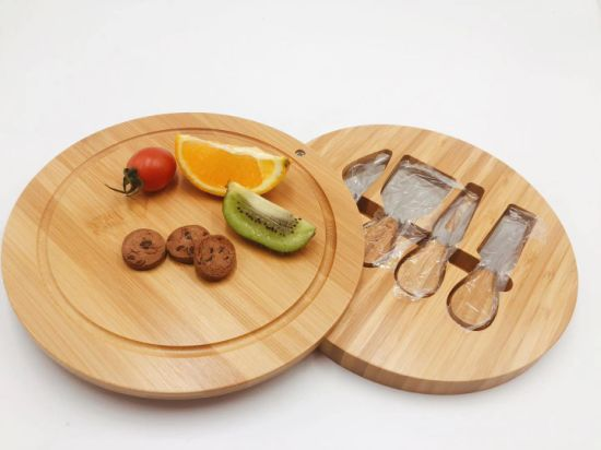 Round Bamboo Cheese Cutting Board with Knives