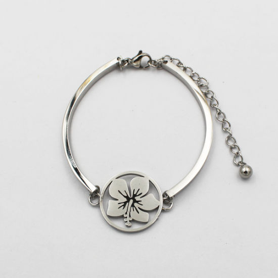 Classic Silver Curved Bar Round Flower Bracelet with Plain Pendant