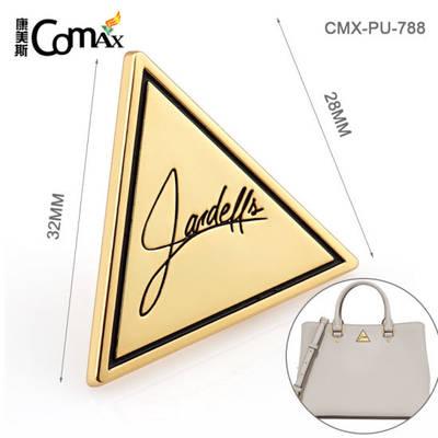 Handbag Hardware Golden Plated Alloy Engraved Metal Tags