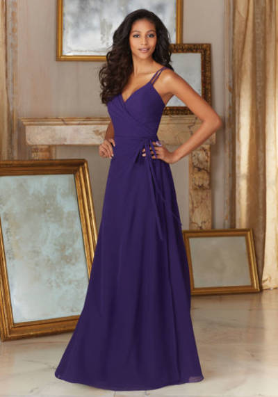 Spaghetti Purple Chiffon Evening Party Prom Cocktail Bridesmaid Dresses