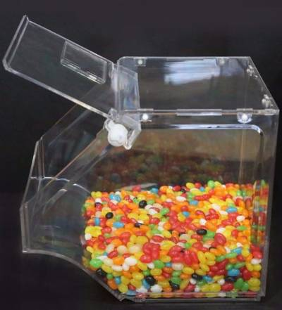 Clear Surface Supermarket Machine Dry Bulk Candy Bins