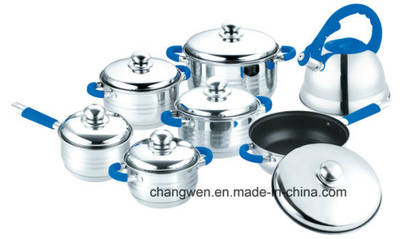 9-Steps Colored Soft Touch Handle 14PCS Stainless Steel Cookware Set