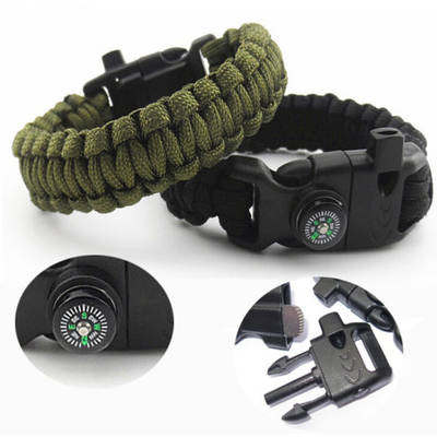 Compass Bracelet 5 in 1 Survival Flint Fire Starter Paracord Whistle Gear Buckle Camping Ignition Eq