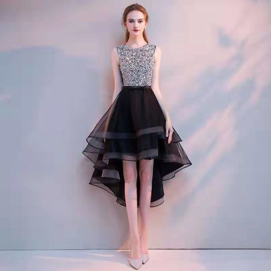 Black Mesh Shiny Sequin Bead Lively Party Evening Dress