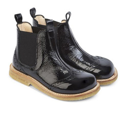 Guangzhou Factory Custom Black Children Leather Shoes Boots