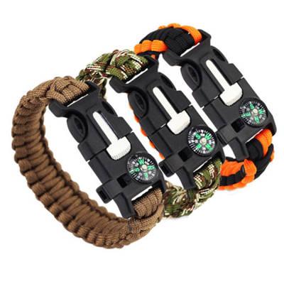 Fashion Survival Bracelet Flint Fire Starter Gear Escape Paracord Whistle Cord Buckle Camping Bracel