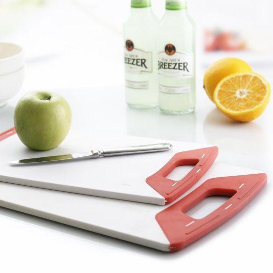 Premium Non-Slip Rubber Ends & Handles Plastic Cutting Board for Kitchen