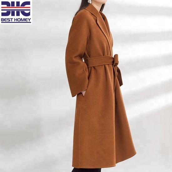 Women′s Lapel Collar Fashion Belt Fine Wool Caramel Hand Made Double Woolen Coats