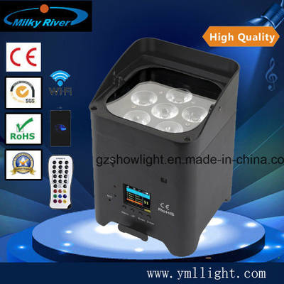 RGBWA+UV LED DMX Freedom Battery PAR Light, Wireless Rechargeable PAR Can Light