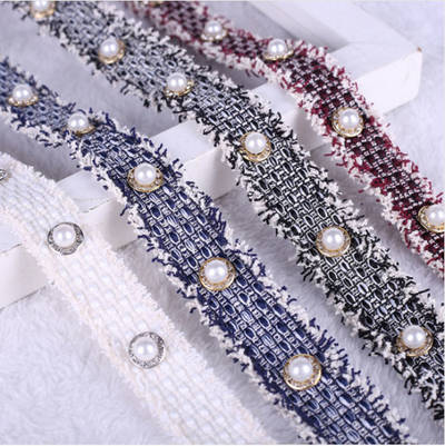 Decorative 2cm 2.5cm 3cm Knit Strip Tape with Pearl Beads