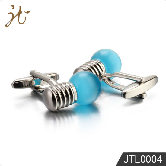 Fashion Nice Quality Blue Bulb Cuff Links for Gift