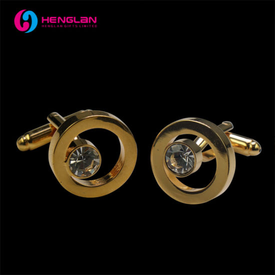 Gold Plated Round Brass Cufflink with Crystal Stones (HL-CL050)