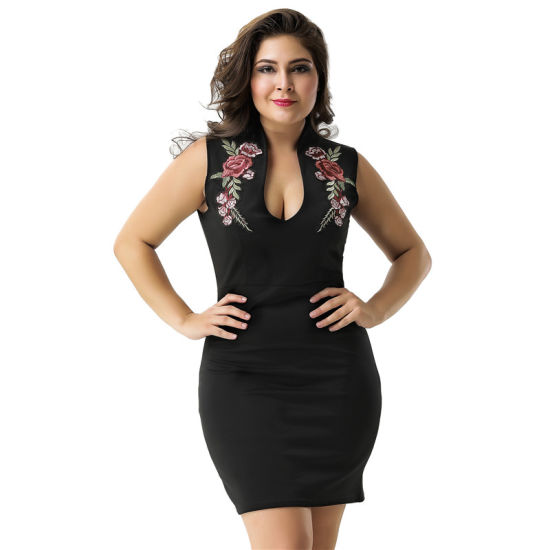 Hot Sale Sleeveless Sexy Women Bodycon Black Dress