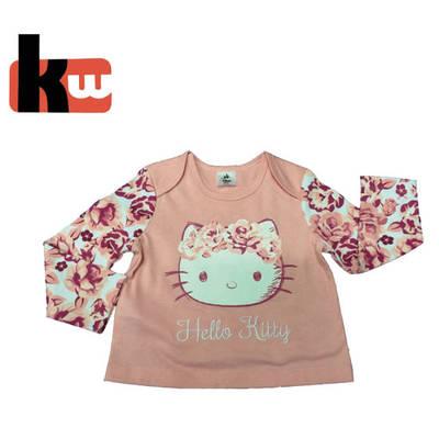 Little Girl′s Envelop Neck Long Sleeve T-Shirt