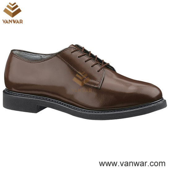 Long Wearing Brown Military Officer Shoes for Men (WMS003)