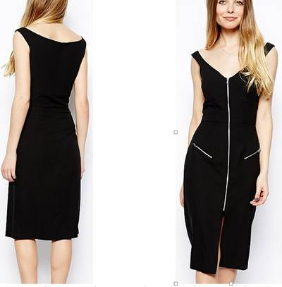 OEM Deep V-Neck High Waist Black Office Women Pencil Dress