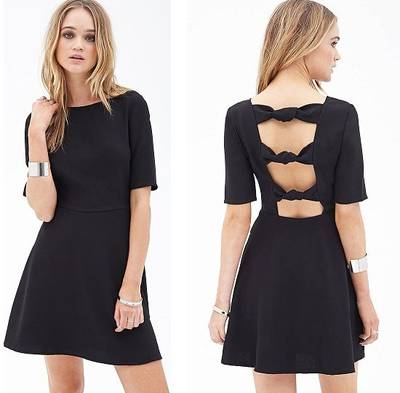 OEM Women Clothing Sexy Back Tie Black Backless Ladies Dress