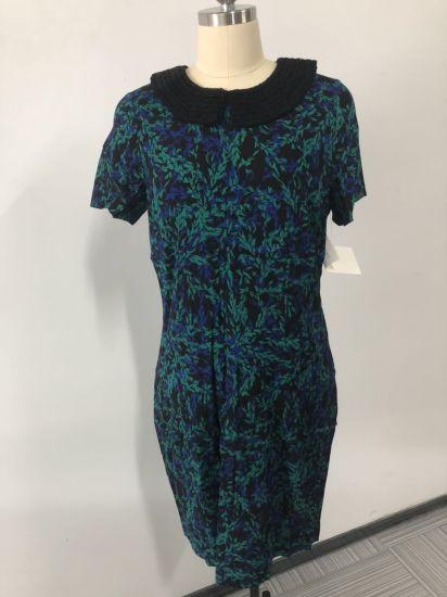 Satin Silk Fashion Collar Women′s Printed Dress