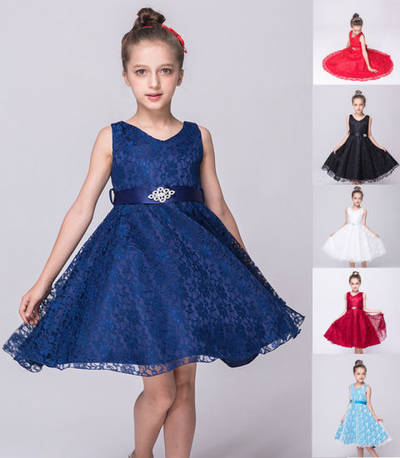 Wholesale Girl′s New Arrival Sleeveless Lace Flower Party Dress