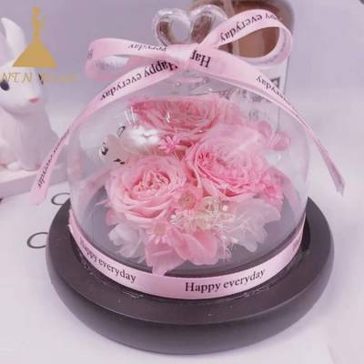 Handmade Preserved Flower in Glass Bell Jar for Home Decoration