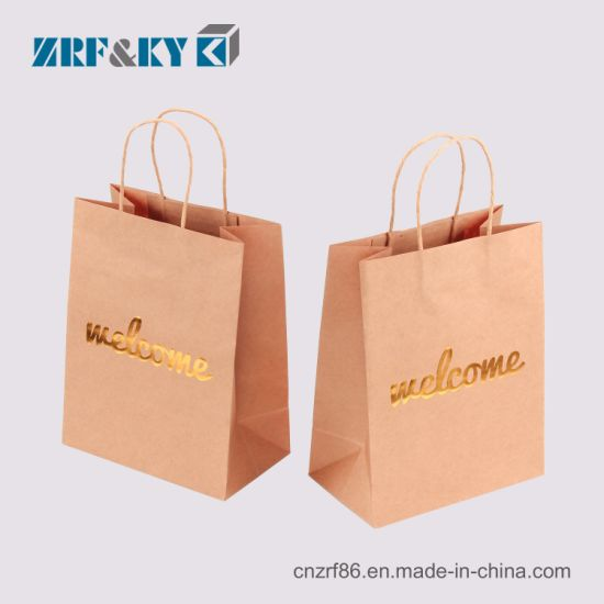 Custom Shopping/Cosmetics/Gift/Sport Brown/White/Black Kraft Paper Bags Packaging Twisted String Han