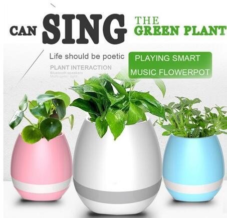 2017 New Magic Smart Music Flower Pot Bluetooth Speaker Intelligent Real Plant Touch Play LED Light