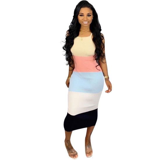 L36415 Color Block Printed Straps MID Dress