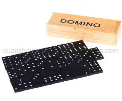 OEM Wooden Toy D6 Double Six Mahjong Games Domino with Box