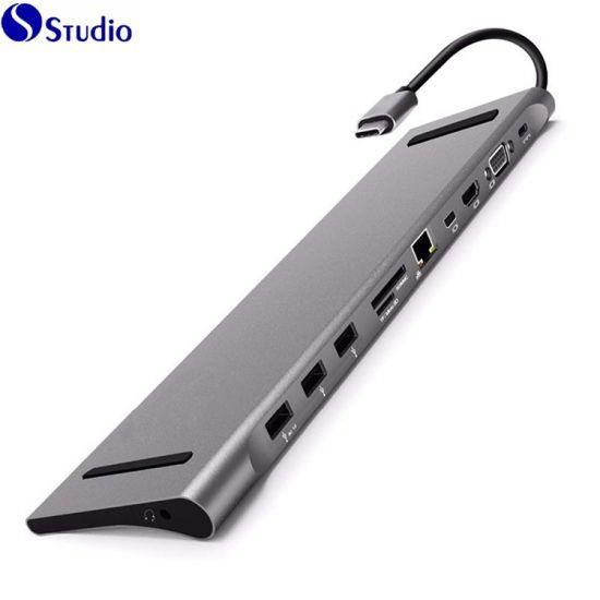USB Hub & Multiport USB C Hub Docking Station 11 in 1 Type C Adapter with HDMI/VGA/Mini Dp/SD/TF