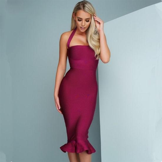 Women′s Bandage Dress Sexy Halter Fishtail Bodycon Party Club Dress Esg11110