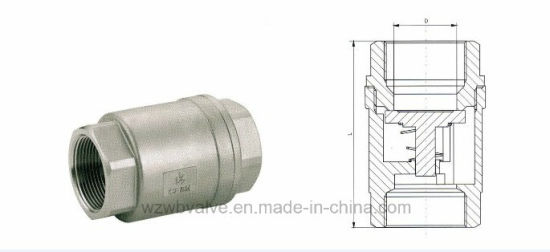 Female Vertical Spring Check Valve with Screw Ends
