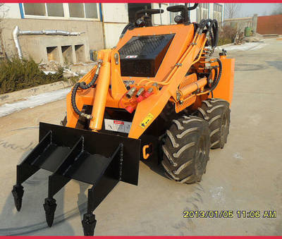 CE Mini Skid Steer Loader with Three Shank Ripper/Tiller